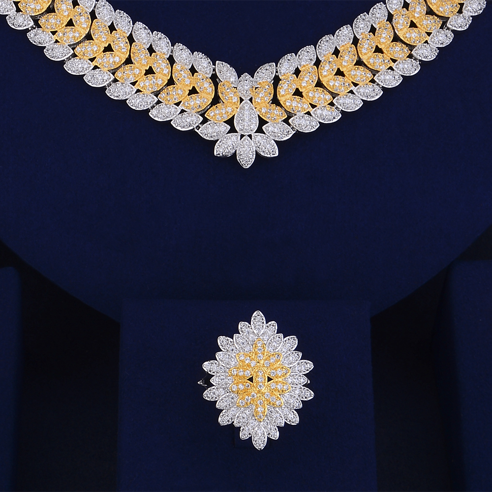 SisCathy 4 pièces nouveau luxe magnifique boucles d'oreilles Bracelet bague collier ensembles de bijoux pour les femmes romantique mariée bijoux de mariage - 3