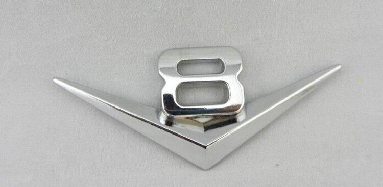 V-8 Silver Chrome Logo Car Emblem Badge Sticker Decal Brand new