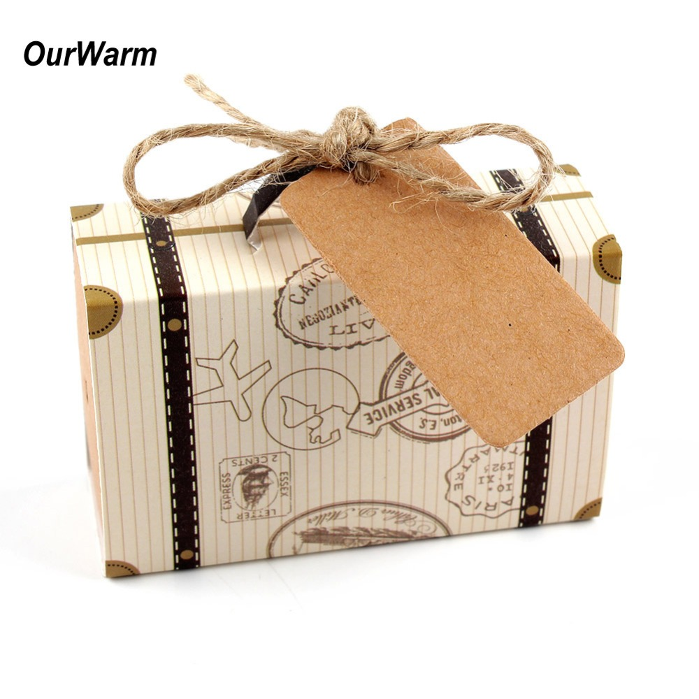 OurWarm 10Pcs Wedding Favors Gift Box Suitcase Candy Handmade Kraft Paper Travel Themed Party Supplies