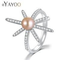 Ayayoo指輪ジルコニア/ラインストーン925スターリングシルバーリング女性のための淡水真珠ウェディング婚約指輪ジュエリーリン