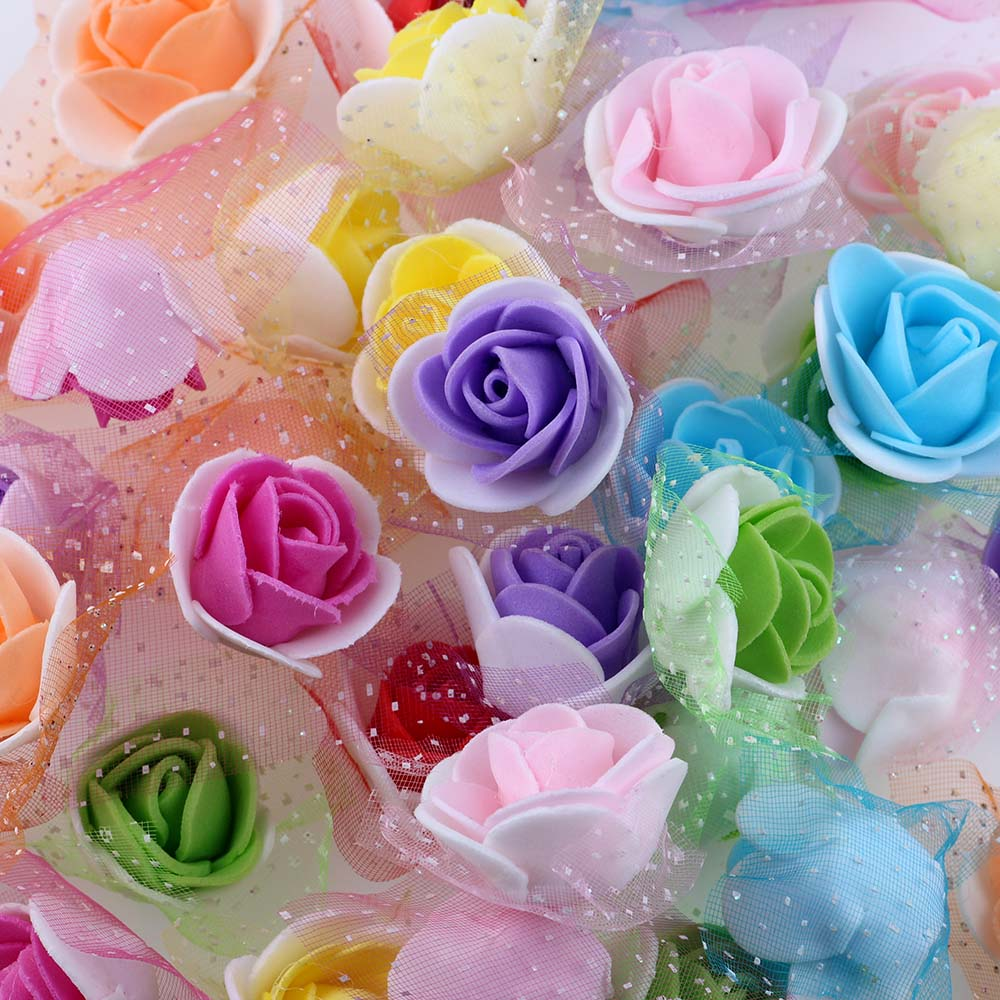 50Pcs/lot 3.5cm Mini PE Foam Roses Multi-use Artificial Flower Heads Handmade DIY Wreath Wedding Decoration Home Garden Supplies