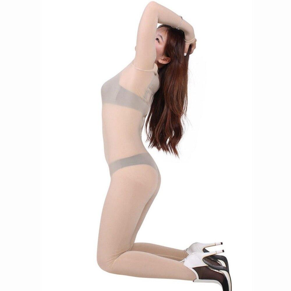 Image 5 - Plus Size Ice Silk Transparent Bodystocking Sexy Hot Erotic Lingerie One Piece Zip Open Crotch Bodysuit Teddies Catsuit OverallsTeddies & Bodysuits   -