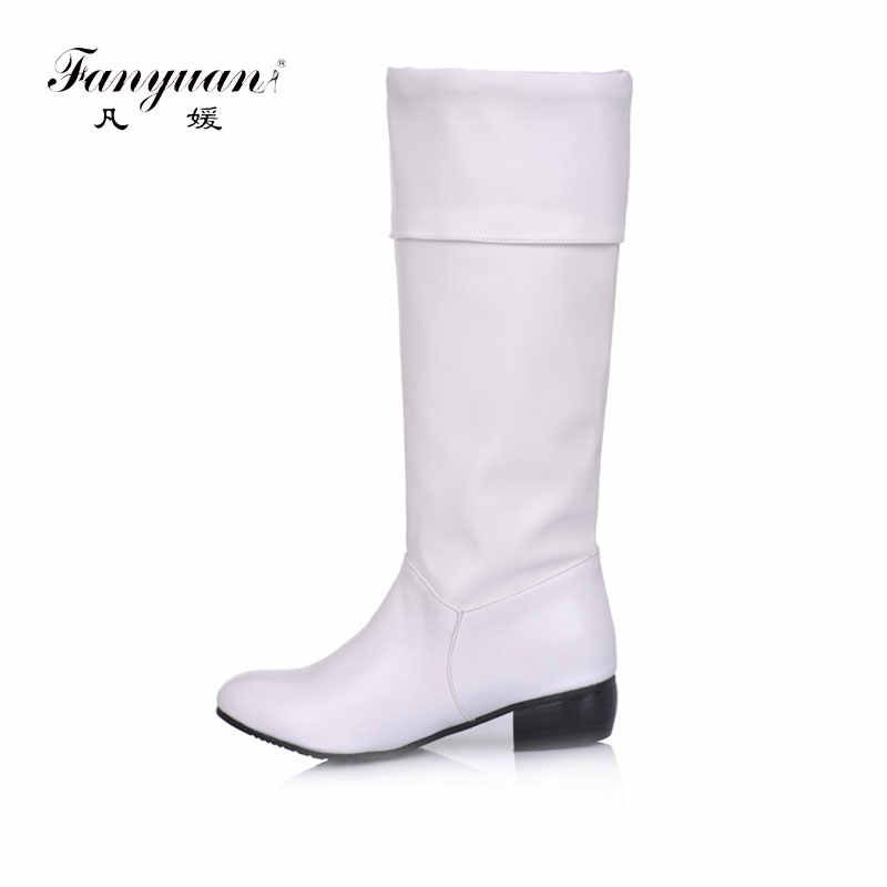 Fanyuannew arrive Knee high Women Boots Black White apricot  flat heels half boots spring autumn shoes woman zapatos de mujer