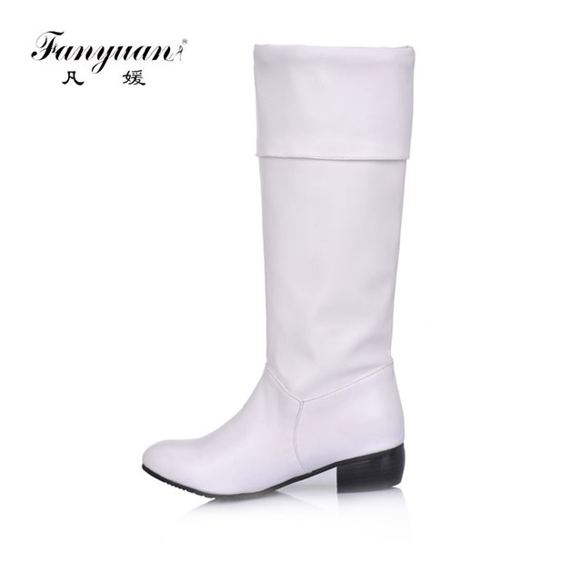 Fanyuannew arriva alti Al Ginocchio Donna Stivali Nero Bianco albicocca tacco piatto mezza stivali autunno della molla scarpe da donna zapatos de mujer