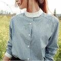 2016 Primavera Outono Coreano New Retro Mulheres Gola Camisa Fina de Manga Comprida Listrada Camisas Blusa Feminina