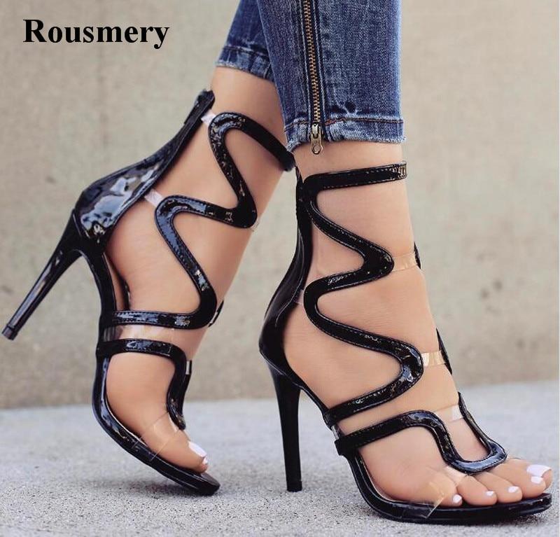 New Arrival Women Fashion Open Toe Patent Leather PVC Pactchwork High Heel Sandals Cut-out Transparent Sandals Dress Shoes стоимость