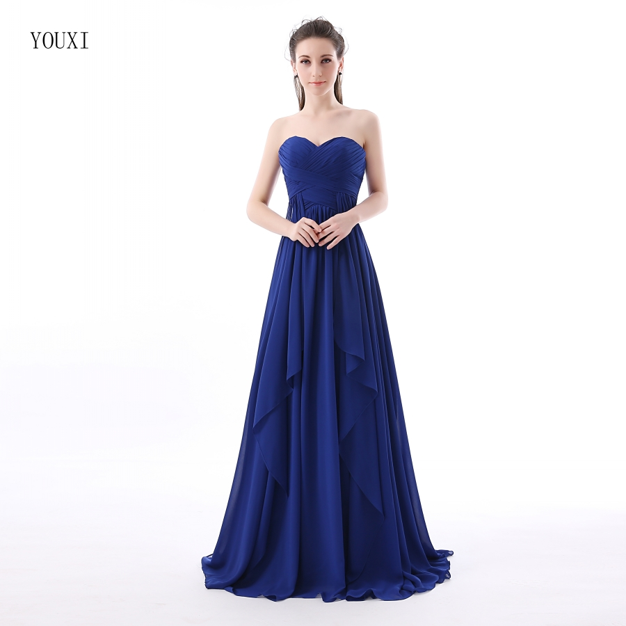 Blue Wedding Dresses 2019: Royal Blue Chiffon Long Bridesmaid Dresses 2019 New