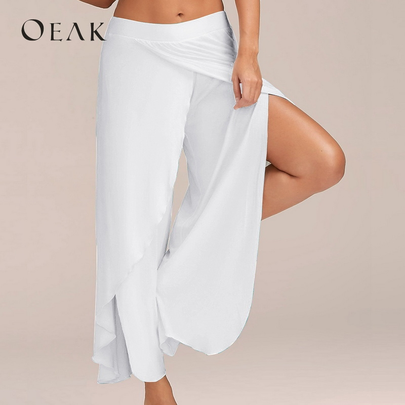 OEAK 5XL Plus Size Split Casual Loose   Wide     Leg     Pants   Women Plsu Size Long   Pants   Solid Low Waist Trousers Female pantalon mujer