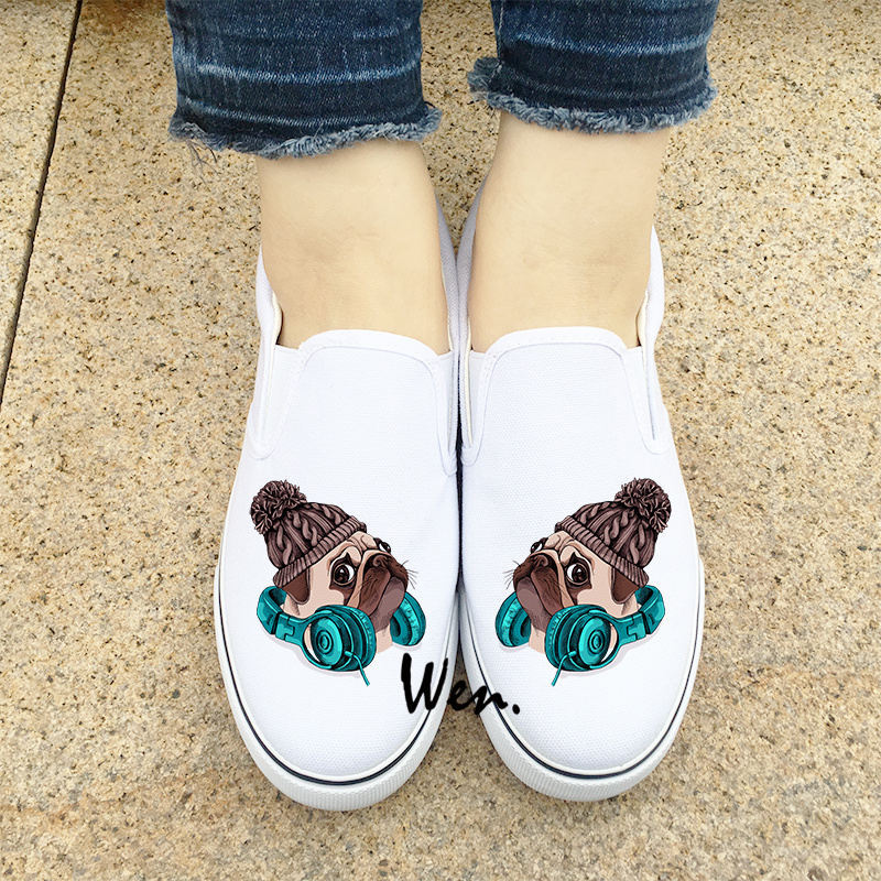 Wen Design Cute Pug Dog Knitted Hat And Earphone Slip On Men Shoes White Black Flats Canvas Sneakers for Women