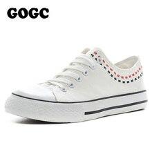 GOGC 2017 Marke frauen Schuhe Kausalen Schuhe Atmungs Flache Segeltuchschuhe Frauen Kausalen Schuhe Damen Weibliche Spitze-up Schuhe