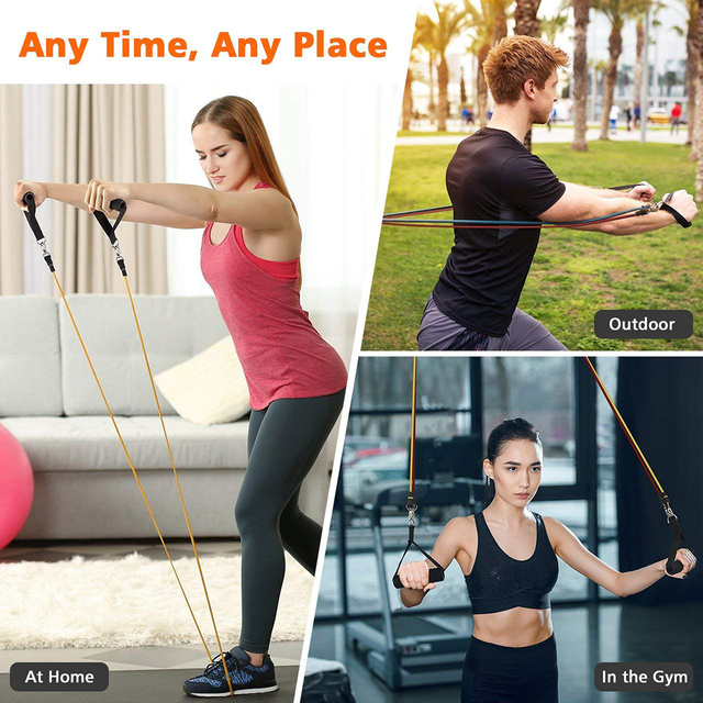 120cm Yoga Pull Rope Resistance Bands Fitness Gum Elastic Bands Fitness Equipment Rubber expander Workout Exercise Training Band 6