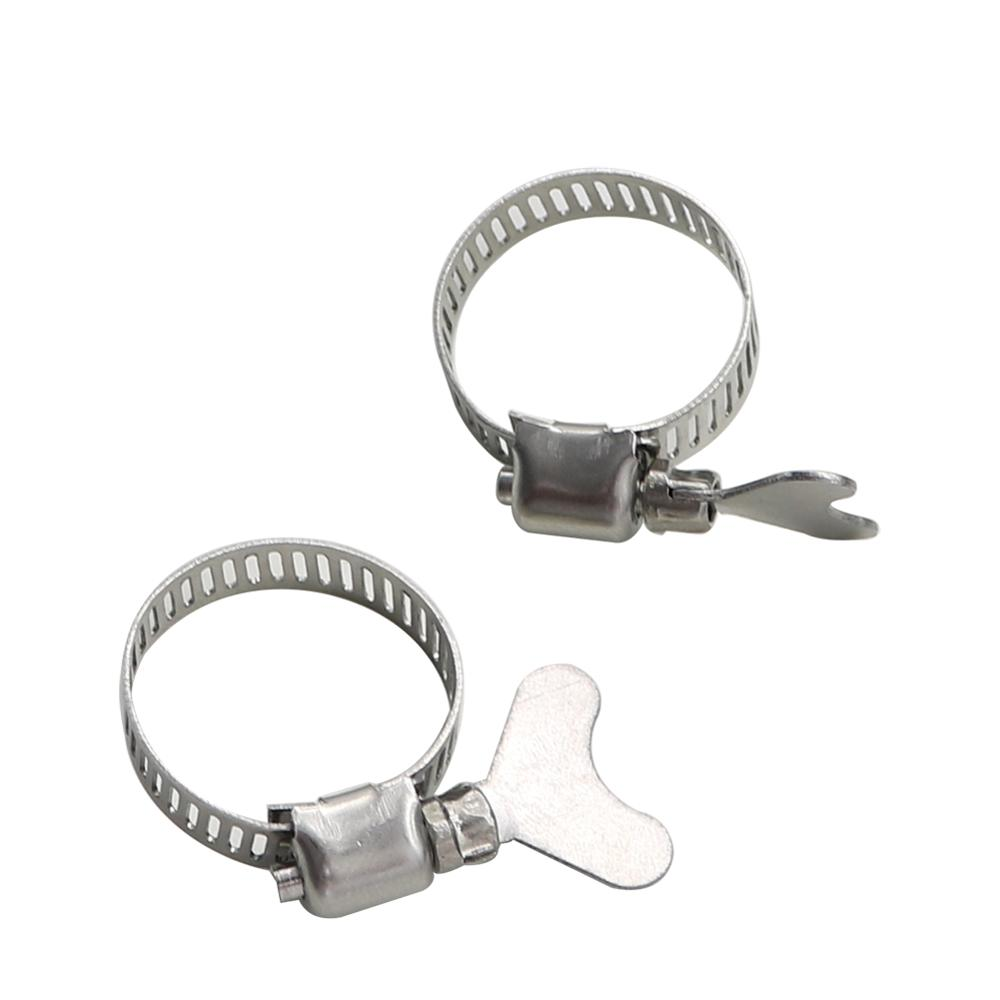 2 Pcs Adjustable Stainless Steel Drive Hose Clamps Garden Pipe Connection Fastening Fixed Buckle Irrigation System Fastener