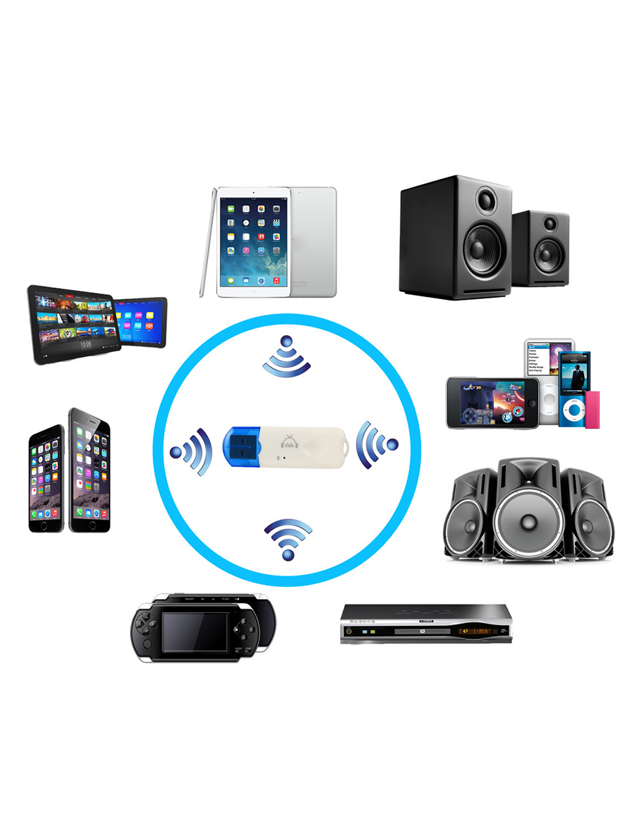 USB Bluetooth V2.1 Audio Stereo Receiver Wireless Handsfree bluetooth Adapter Dongle Kit for Speaker for iphone for car or home 9