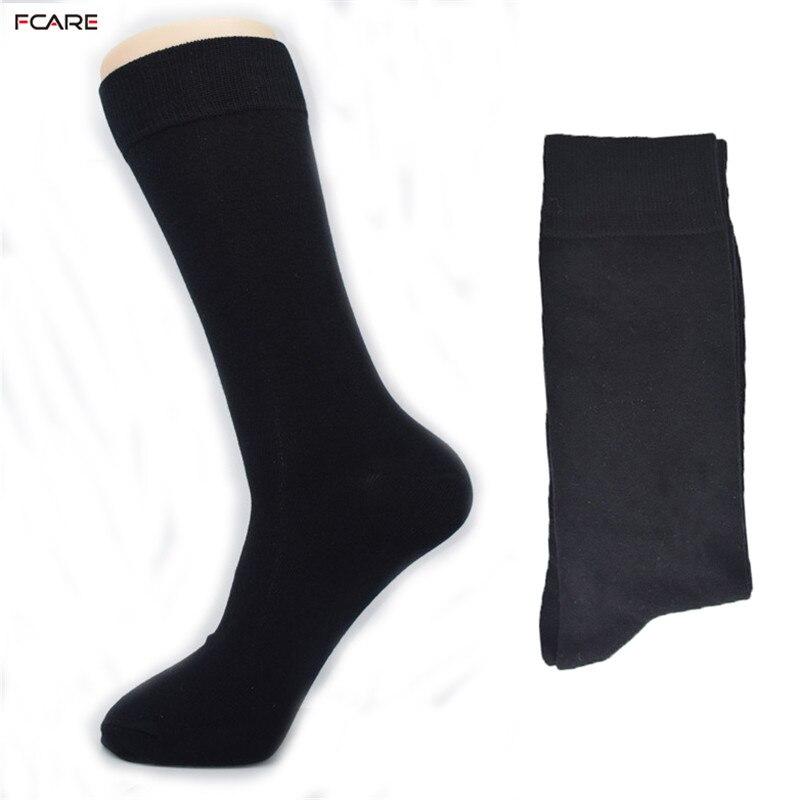 Fcare 8PCS=4 pairs 42,43,44, 45 long leg cotton crew socks black business socks
