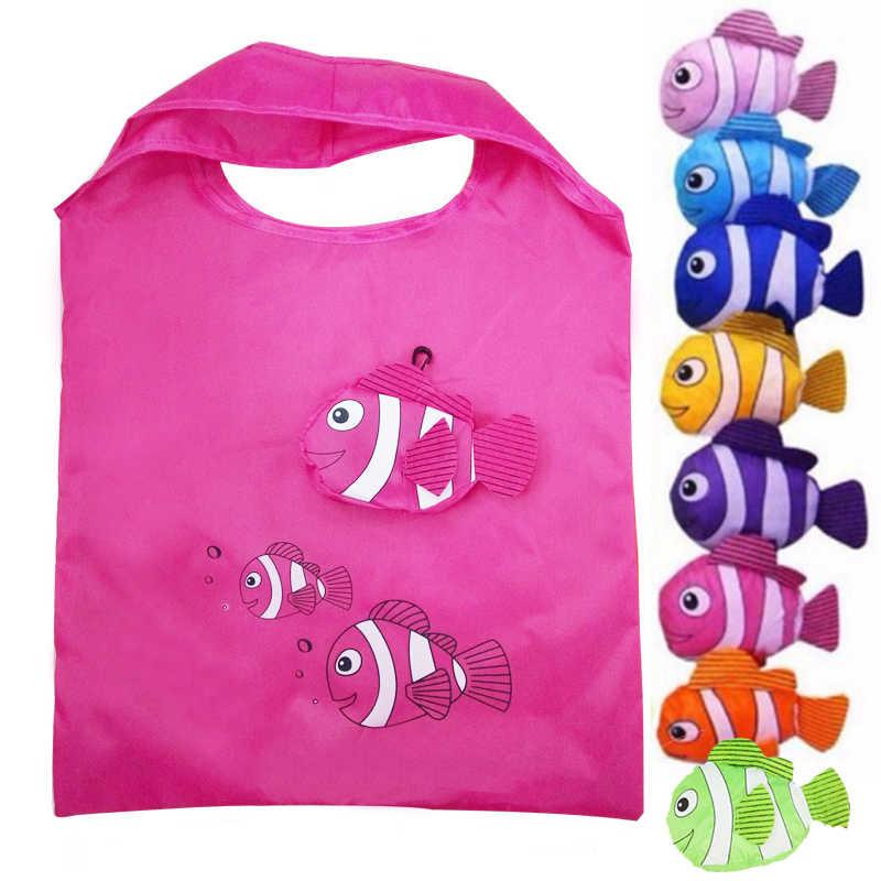 0e9dc5c818dc Drop shipping Women s fish Female shopping bag for women foldable reusable  folding personnalis tote cloth fabric