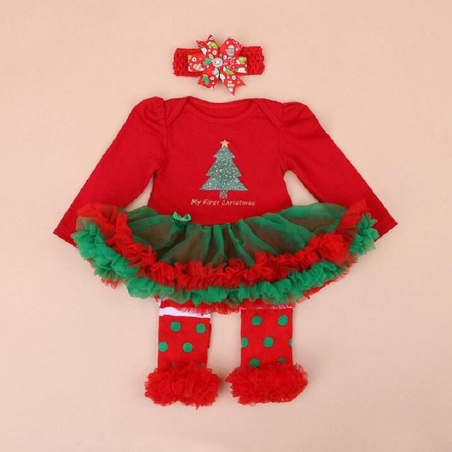 Bebé ropa de Recién Nacido mameluco largo de la Manga Del Vestido de Partido de la Muchacha Del Partido de Navidad tutu dress + Rodillera + Diadema 3 unids Moda Ropa de la muchacha