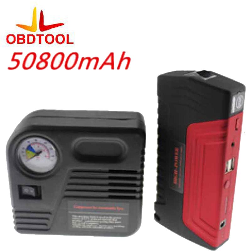 50800 MAH Car Jump Starter Car Battery Car Tire Tyre Inflator Pump Car Safety Hammer JumpStarter Set Mobile Auto Emergency Power sales sahoo bicycle bike repairing kit tools set mini portable tyre tire inflator pump compressed co2 cylinder patch crowbar