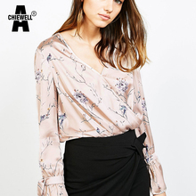 Achiewell Summer Sexy Loose Women Blouse Deep V Neck Long Sleeve Satin Floral Print Pink Blouse with Ties on Cuffs Tops