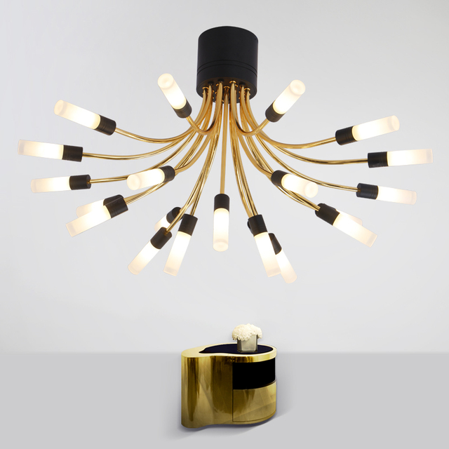 Nordic simple design flower type luxury golden restaurant modern nordic simple design flower type luxury golden restaurant modern acrylic lamp shade can be washed ceiling aloadofball Images