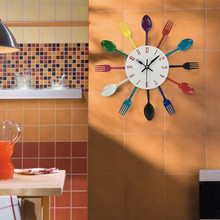 Multicolor Cutlery Kitchen Utensil Wall Clock