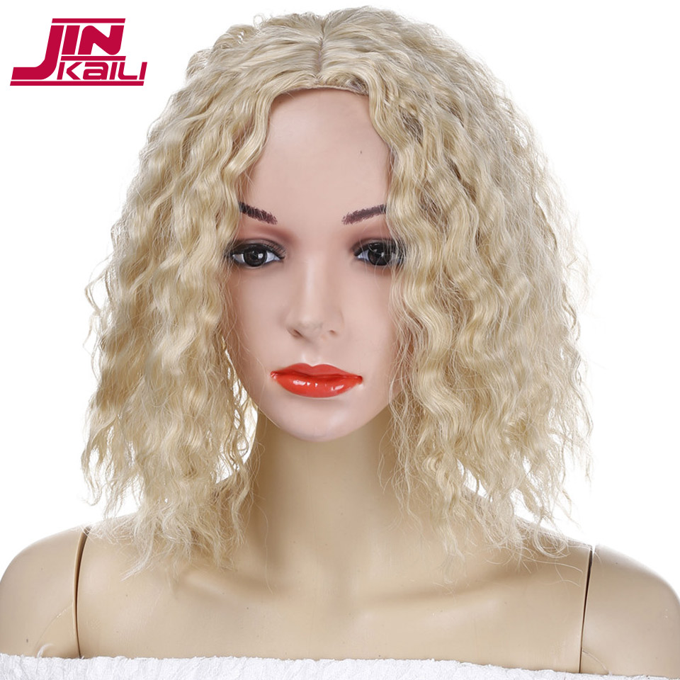 JINKAILI WIG Short Bob Wavy Curly Women Wigs Blonde Synthetic Hair Cosplay Halloween Wigs with Wig Cap