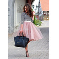 Pink Tutu Tulle Skirts Women 4 Layers Fashion Midi Skirt New Fashion falda tul mujer Princess Short Party Gowns