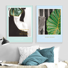 Wall Art Canvas Painting Golden Line Big Green Leaves Girl Nordic Posters And Prints Pop Pictures For Living Room Decor