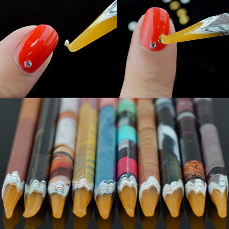 MEET ACROSS Nail Art Self-adhesive Wax Pen Nail Rhinestone Picker Pencil Gem Crystal Pick Up Tool For Crayon Nail Art Tools