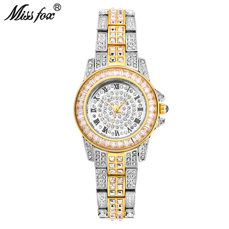 Miss Fox Ladies Gold Watch Wome Rhinestone Fashion Watches Golden Clock Super Mirror Quartz Movt Party Bracelet Chinese Watch cambridge english skills real listening and speaking 2 without answers