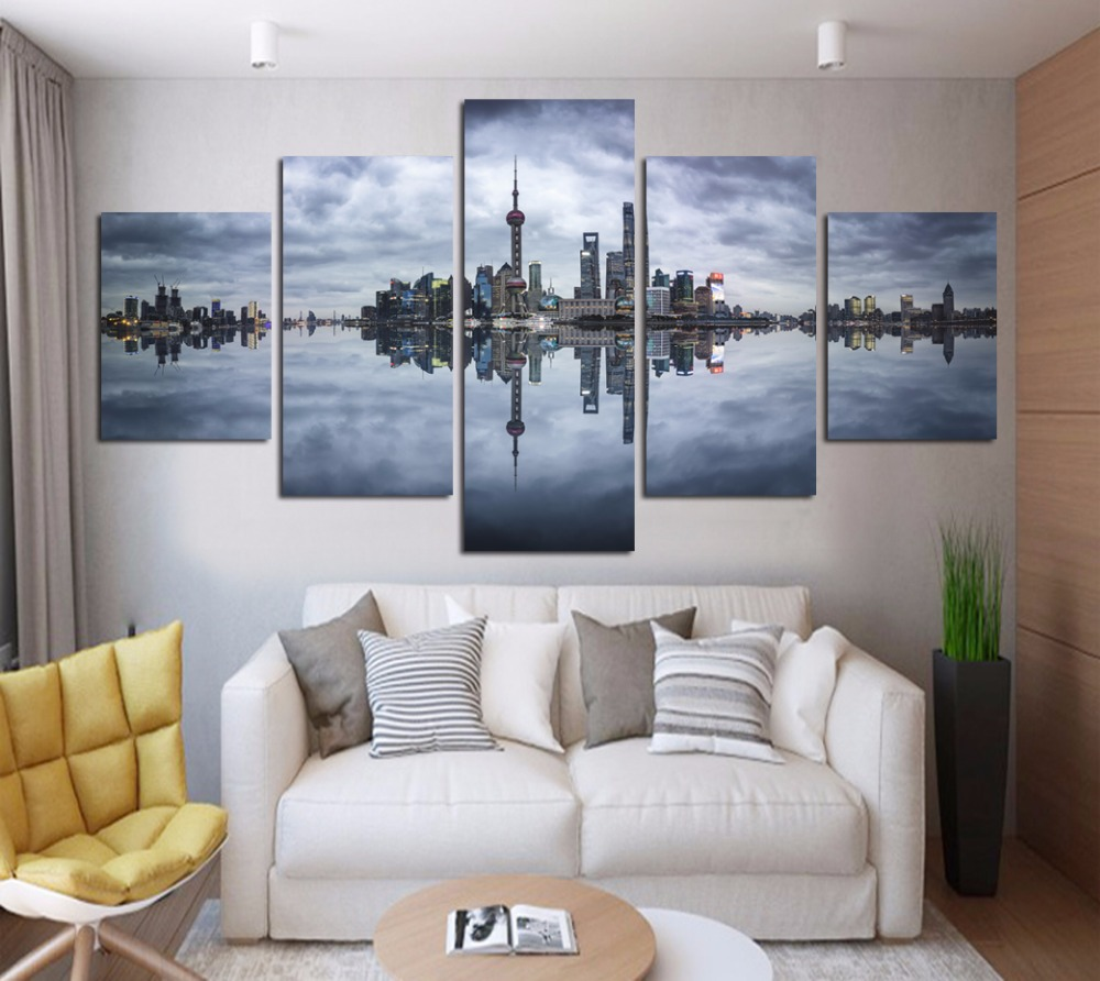 China Shanghai Scenery Wall Stickers Oriental Pearl Tv: Canvas Painting Modern City Shanghai Business Center