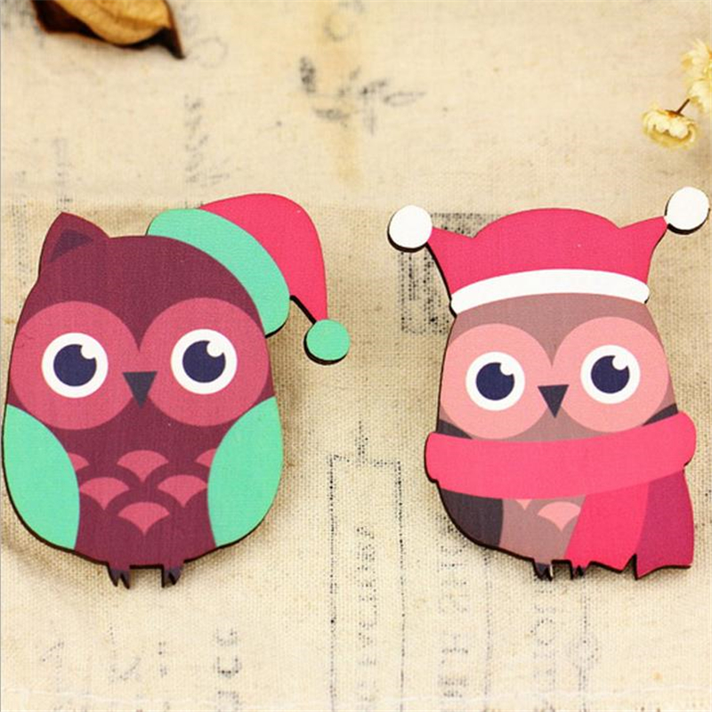 DoreenBeads Handmade Wood Pin Brooches Lovely Animal Owl Pattern Safety Pin for Sweater Coat Scarf Decor Christmas Accessories