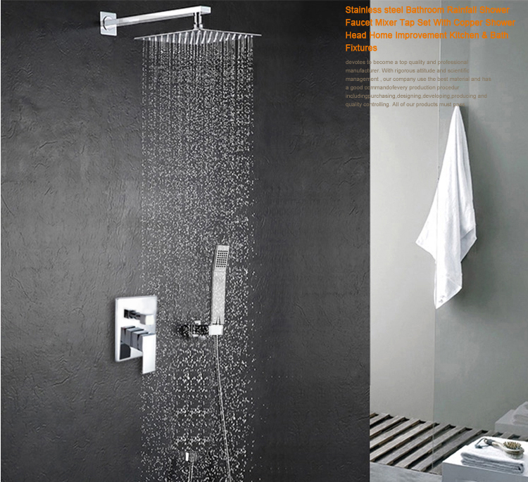 BECOLA Luxury 8-10-12-16 inch Stainless Steel Bathroom rain shower faucets head shower set with hand shower