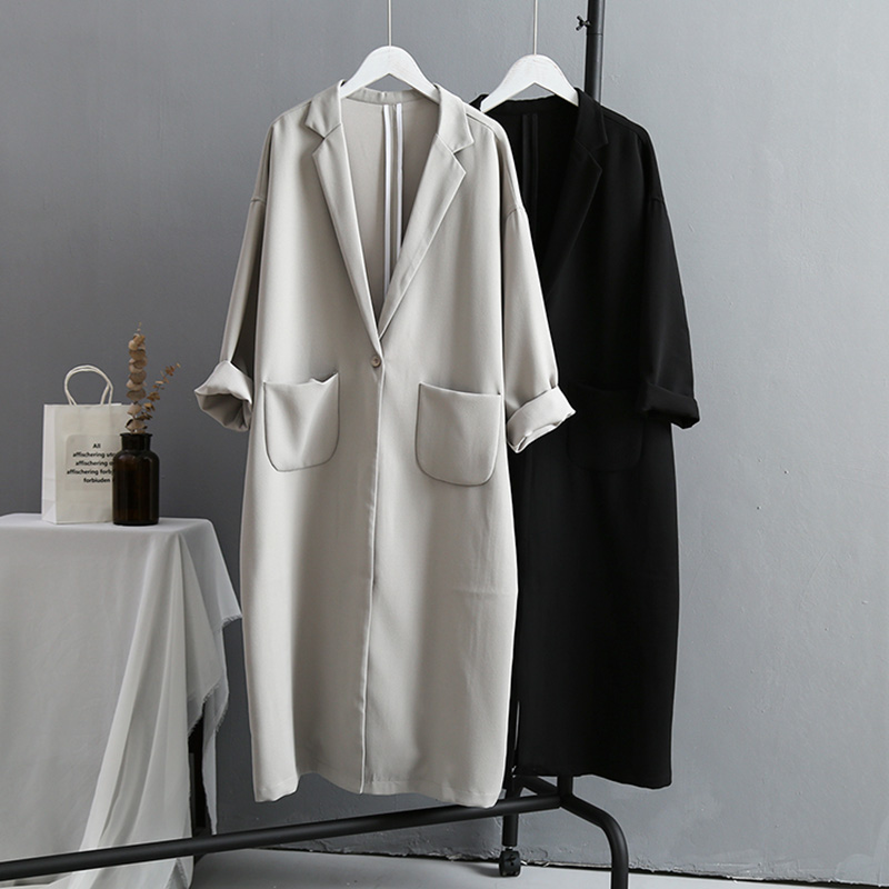 VogorSean Autumn Winter Womens Trench Coats 2019 Boutique Korean Version Large Size Loose Long Women Trench Coat Black/Grey