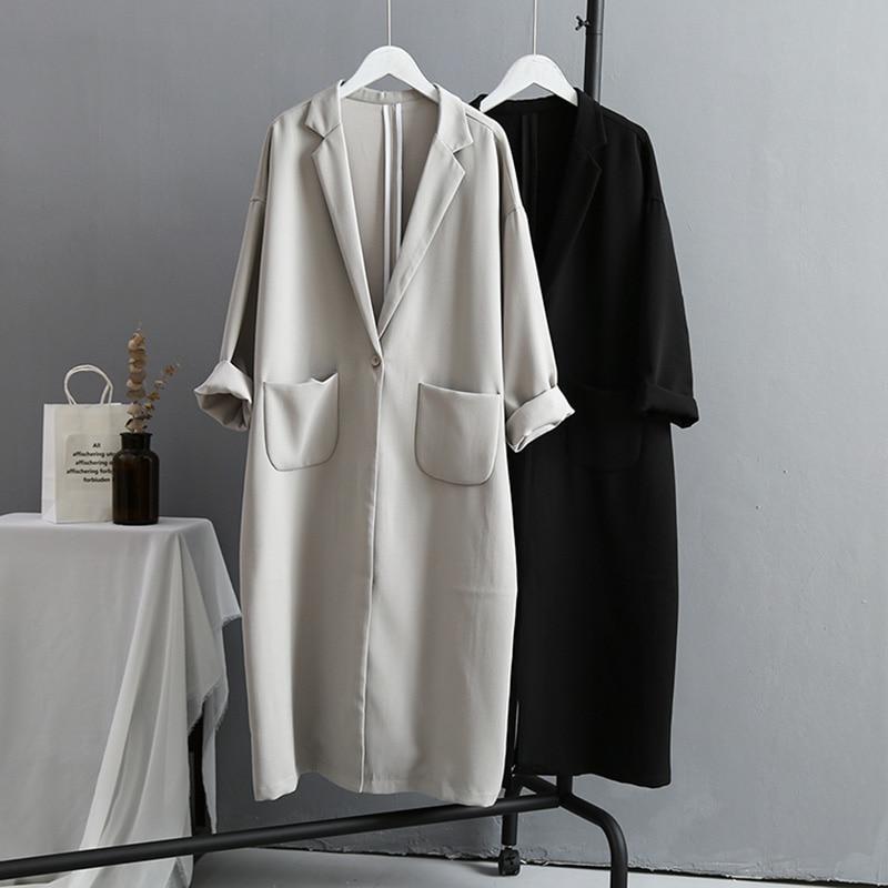 VogorSean Autumn Winter Womens   Trench   Coats 2018 Boutique Korean version Large size Loose Long Women   Trench   Coat Black/Grey