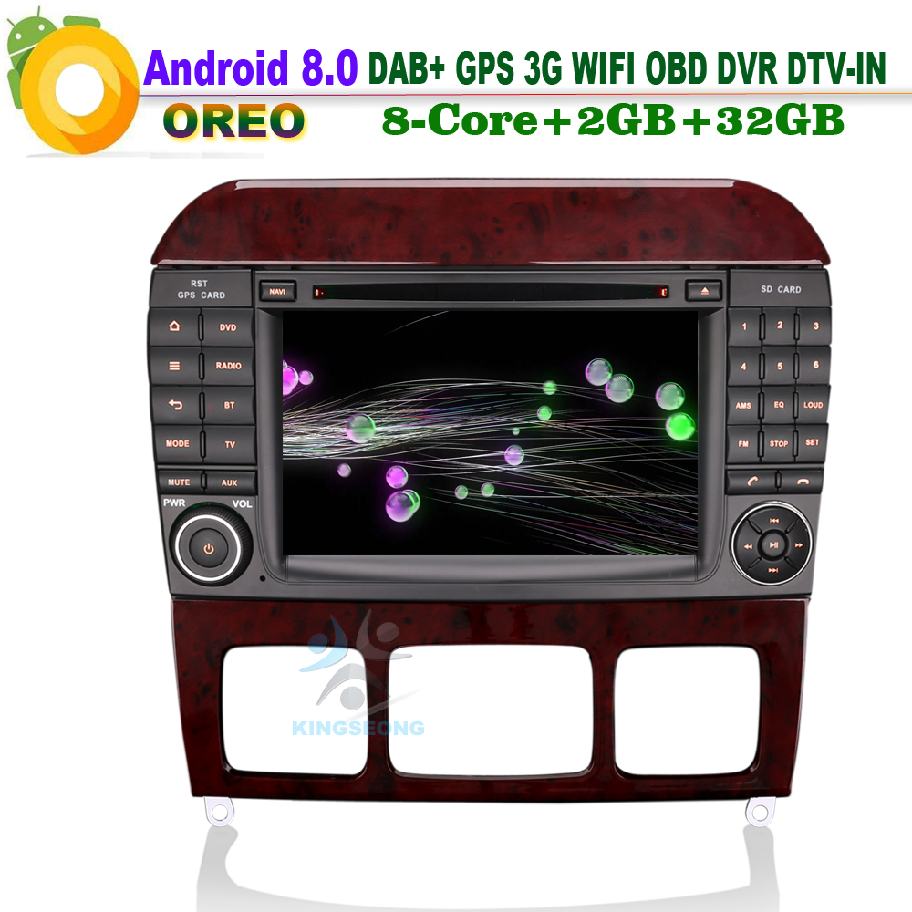 7″ Android 8.0 DAB+ SD DVD DVR OBD Autoradio WiFi 3G Car CD player for Mercedes CL-Class W215 Car Stereo GPS DTV-IN