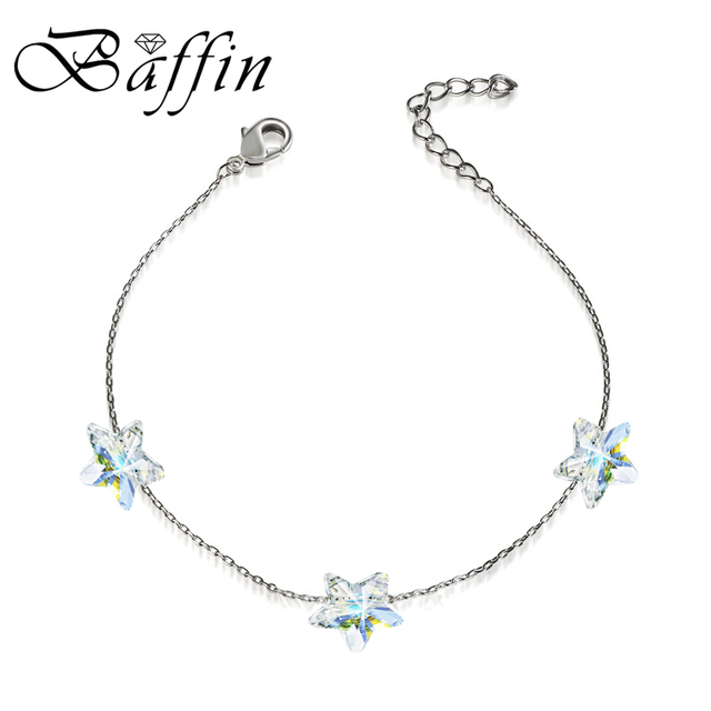 BAFFIN Simple Stars Crystals Beads Chain Bracelets Crystals From SWAROVSKI Handmade Knots Lucky Bracelet Silver Color Jewelry