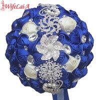 WifeLai A Custom Royal Blue Ivory Brooch Bridal Hand Holding Flower Bouquets Bridesmaid Crystal Silk