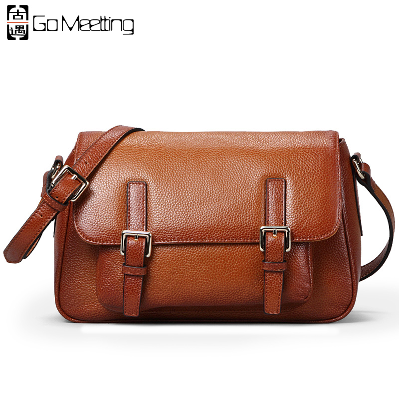 Go Meetting Genuine Leather Women Shoulder Bags High Quality Cow Leather Women Crossbody Bag Brand Design Messenger Bags WD32 go meetting 100