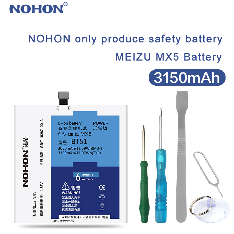 NOHON Mx5-Battery Mobile-Phone-Bateria Real-Capacity Meizu Tools 3150mah with 100%Original