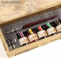 Hethrone wooden Quill pen Set 100% Hand CraftGolden Calligraphy Pen Holder Hand Carved Dip Pen Stem Best Antique Executive Gift