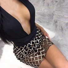 Feditch 2018 Deep V Neck Sexy Drsss Women Fashion Sequin Bandage Party Dresses Summer Clubwear Women Dress Mesh clothes