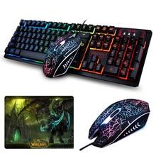 K-13 Wired Rainbow Backlit illuminated Usb Multimedia Ergonomic Gaming Keyboard + 2400DPI Optical Gaming Mouse For Gamer Laptop