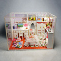 M004 hongda diy dollhouse miniature bedroom wooden doll house include furniture,Light,dust cover