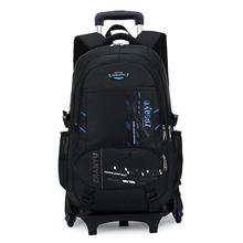 Nowy wodoodporny uczeń Rolling torba na bagaż dzieci plecak szkolny na kółkach wózek 6 kół bagaż plecak dla chłopców z powrotem do szkoły tanie tanio Torby podróżne NYLON Na co dzień zipper Geometryczne Podróż torba Miękkie Travel Bags Nylon+Alloy+ABS Wszechstronny