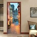 Creative 3D Town Street paysage porte autocollant bricolage décor à la maison décalcomanies auto adhésif papier peint porte étanche Mural porte rénovation|Porte Autocollants| |  -