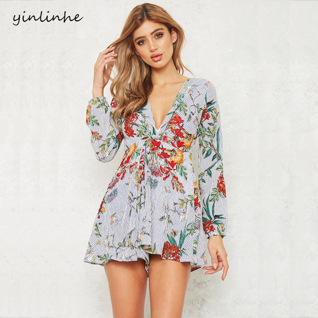 yinlinhe New Floral Playsuit Women Long Sleeve V neck Sexy Short Jumpsuit women rompers Loose Pants Elegant overalls        262
