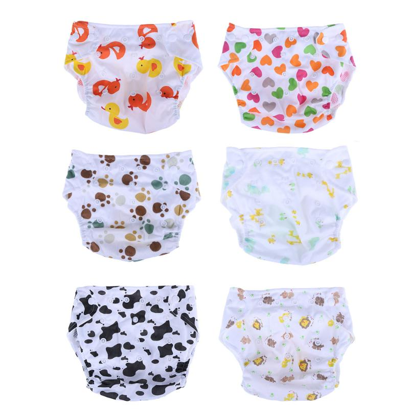 Baby Cartoon Adjustable  Diapers Kids Learning Printed Mesh Breathable Cloth Diaper Reusable Baby Nappy Training Pants