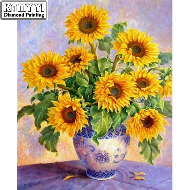 Lukisan berlian Diyy Cross stitch kit Sunflower Handicraft and art Needlework 3d drill drill mozek Diamond Embroidery ZS