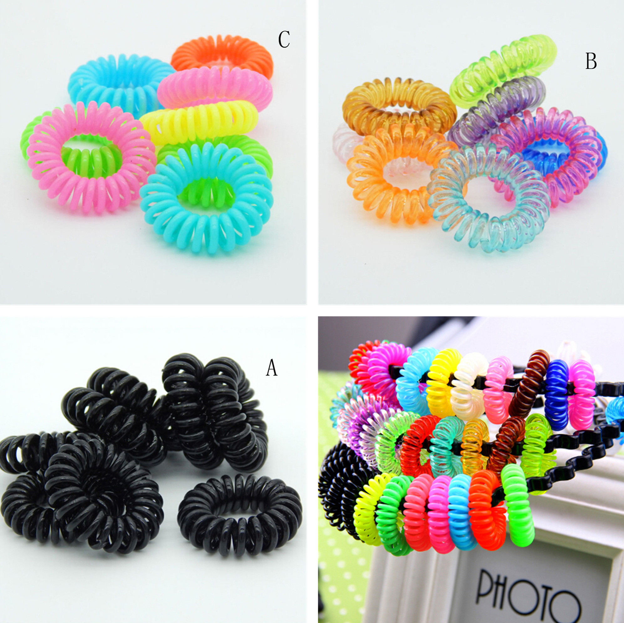 10Pcs Multicolor Elastic Hair Bands Spiral Shape Ponytail Hair Ties Gum Rubber Band Hair Rope Telephone Wire Hair Accessories