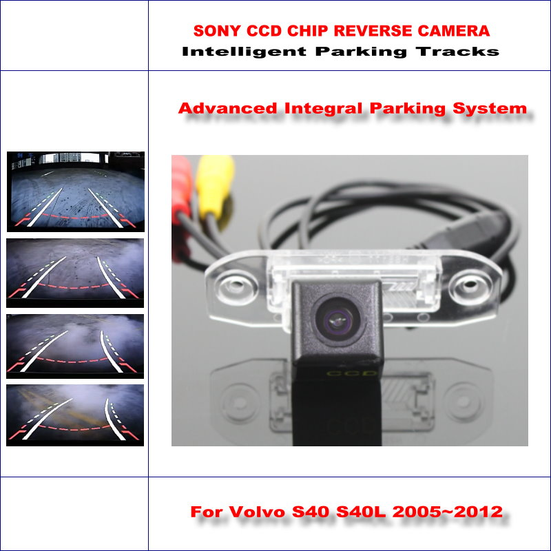 Intelligentized Reversing Camera For Volvo S40 S40L / Volvo V50 Rear View Back Up / 580 TV Lines Dynamic Guidance Tracks 860 576 pixels back up camera for renault megane 3 iii 2008 2016 rearview parking 580 tv lines dynamic guidance tragectory